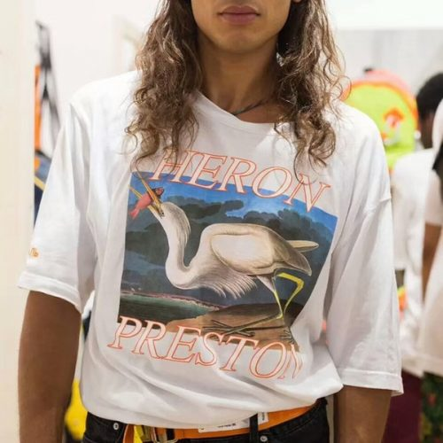 18SS HERON PRESTON Crane Print T-Shirt Mens Ladies Loose Style Neck Cotton Short-Sleeved White T-Shirt Top For Lovers