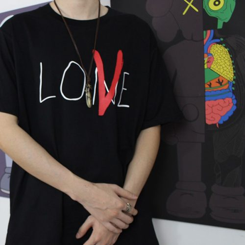 18ss VLONE Life Lone Love T-Shirt Hand Painted Fashion Tee Men Women Loose Casual T-shirt Streetwear Hip-hop Crew Neck Summer Tee HFLSTX214