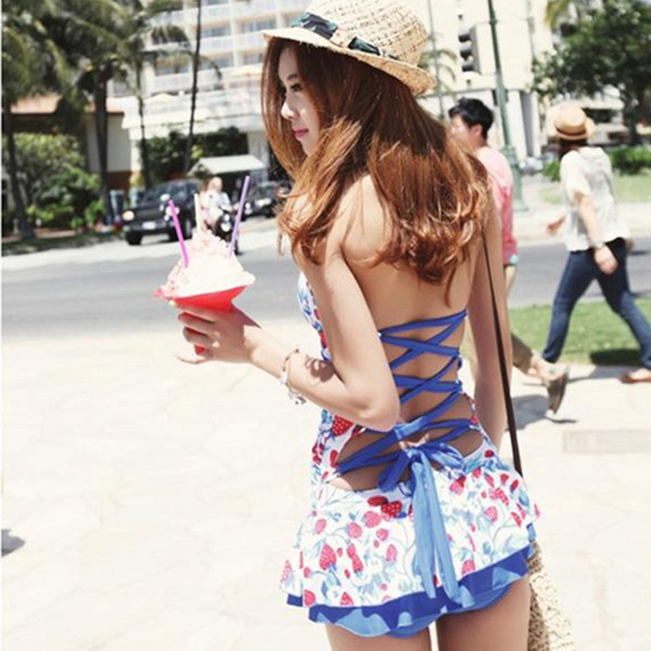 2015 Korean manufacturers wholesale sexy swimsuit spa drain back dress fashion style skirt was thin piece swimsuit cover the belly A062346