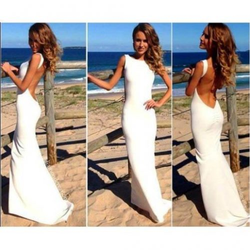 2017 Elegant Fashion White Prom Dress Women Long Maxi Dress Slim Backless Beach Skirt Summer Sexy Bodycon Party Dress Ladies Girl PY16