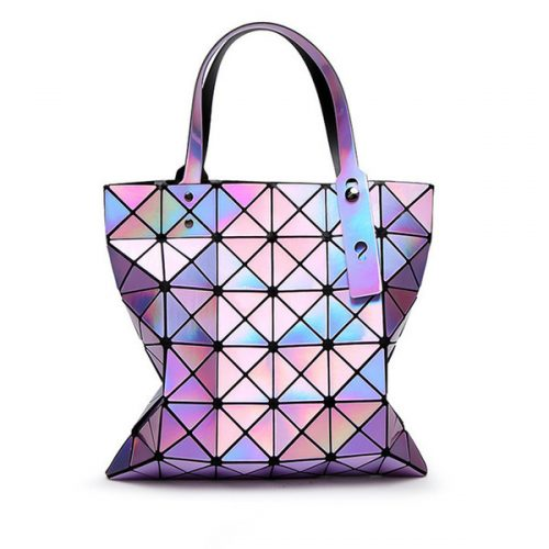 2017 Fashion Ladies Folded Geometric Plaid Bag Women Laser Bright Casual Totes Bag Shoulder Bags Fold Over Bao Bao Handbags