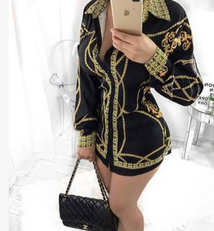 2017 new women Casual Shirt dress Fashion Single-breasted blouse Tops Long Sleeve Print Dress sexy Club bandage T shirt dress S-XL