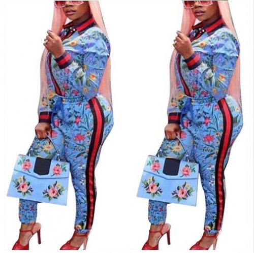 2018 Autumn Floral Print Overalls Two Piece Tracksuit For Women Casual Cardigan 2 Pieces Pants Suits Ensemble Femme Outfits