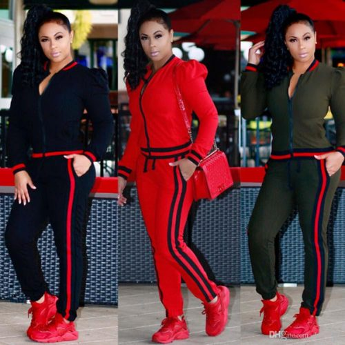 2018 Autumn womens Plus size Casual Fashion Long Sleeved Two-piece Jogger Set Ladies Tracksuit Sweat Suits