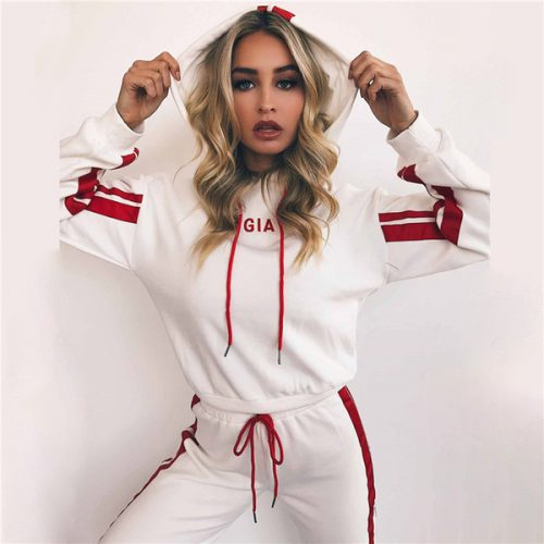 2018 Hoodied Women's Tracksuits spring style sweat shirt Letter Print tracksuit women Long Pants Pullover Tops Womens set Women Sport Suits
