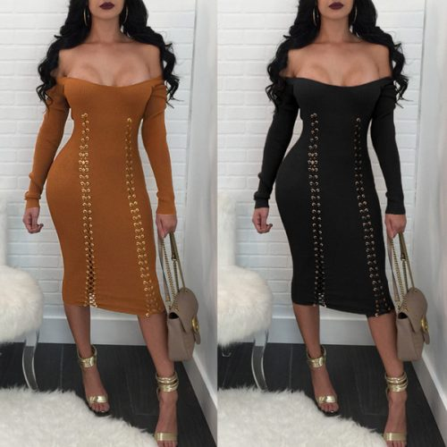 2018 Hot Sale Cotton Women Long Casual Dresses with Lace up Sexy Boat Neck Long Sleeves Fashion Bandage Dress Outwear Black Brown