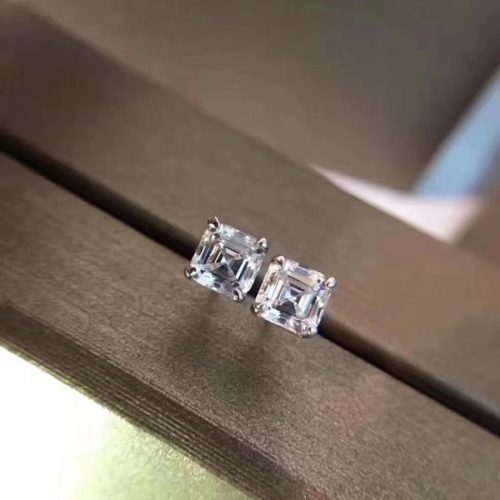 2018 Luxury quality Famous Brand S925 Silver Stud with Square dimond Fashion brand Earrings jewelery for women wedding gifts BV PS6643