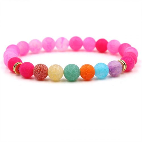 2018 new natural stone weathered carnelian stone colorful chakra yoga elastic Bracelet For Women man AL-XD45