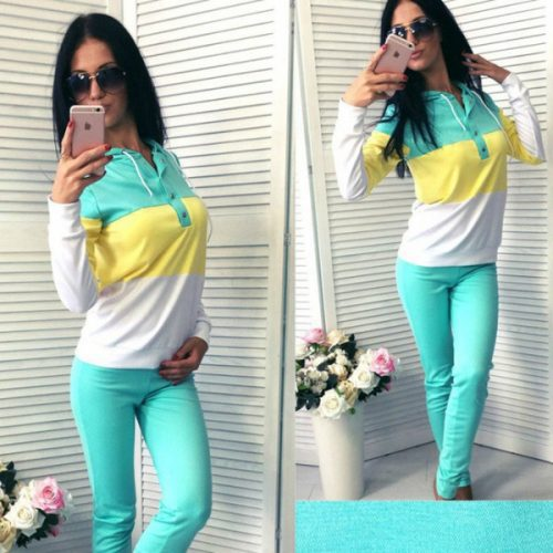 2018 women's fashion brand autumn long sleeved sweater two piece suit multicolor optional casual sportswear