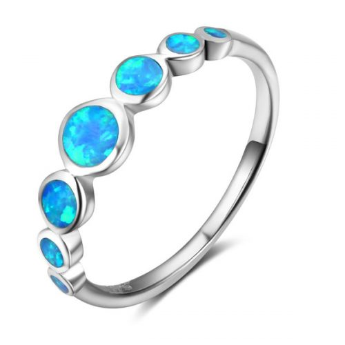 5pcs a lot 925 Sterling Silver Blue Opal Rings Fashion Bridal Jewelry Wedding Bands Promise Rings For Women
