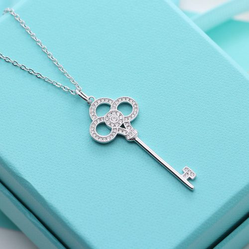 American Keys enamel Sterling Silver Necklace women luxury forever love chain fashion brand wedding party t diamond hollow Necklaces