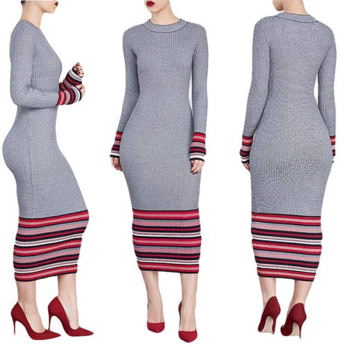 Autumn Winter Long Sweater Dress Women Full Sleeve Maxi Dress Clubwear Knitting Sweater Vestido De Festa Knitwear Female Dress WT51871A