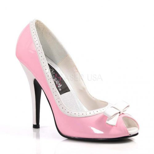 Baby Pink White Two Tone Pump Heels Patent