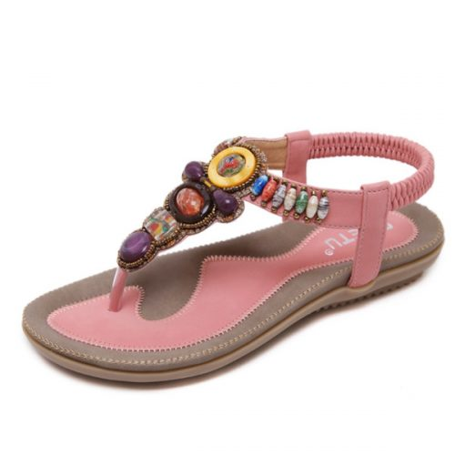 Beach Flat Women Girls Bohemian Sandals Shoes Espadrilles Black Beaded Ankle Strap Large Size Free Shipping