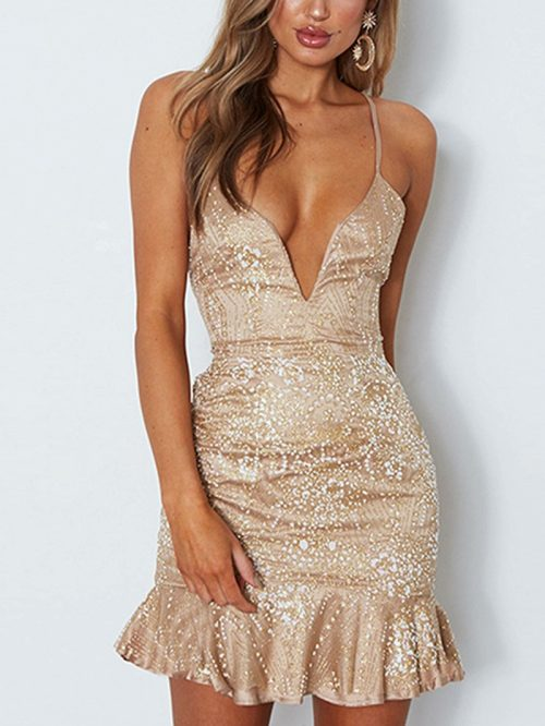 Beige Spaghetti Strap V-neck Rhinestone Detail Mini Dress