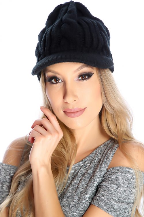 Black Cable Knit Slouchy Newsboy Beanie