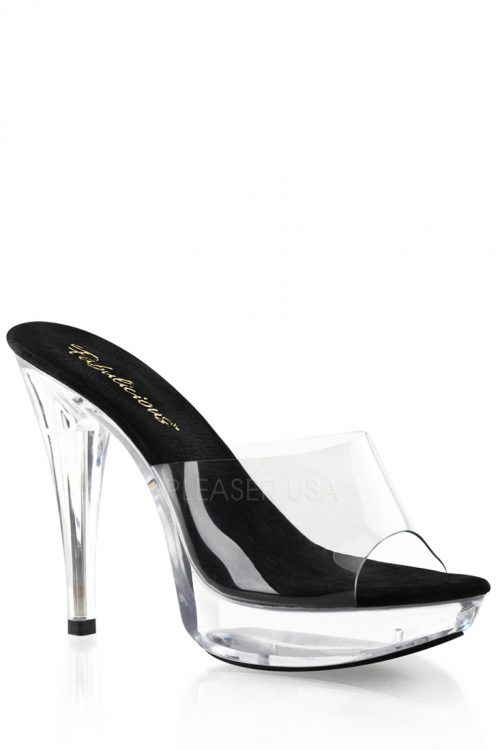Black Clear Slip On Platform Heels PVC