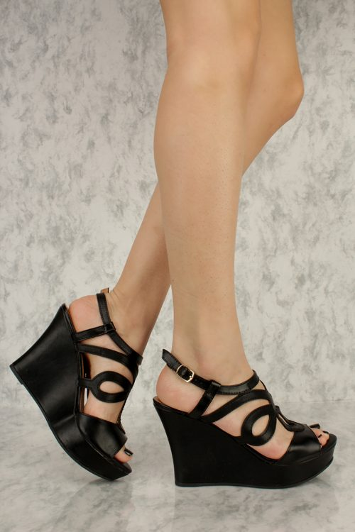 Black Detailed Cut Out Sling Back Open Toe Wedges Faux Leather