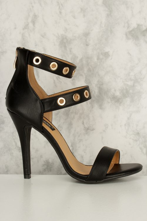 Black Double Strap High Polish Ring Detail Open Toe Ankle High Heels Faux Leather