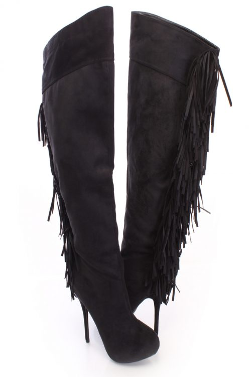 Black Fringe Knee High Heel Boots Faux Suede-5.5