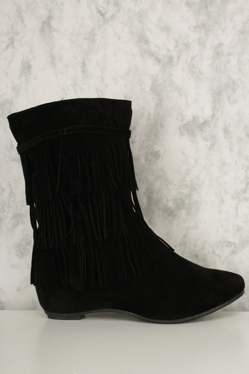 Black Fringed Ankle Boots Faux Suede