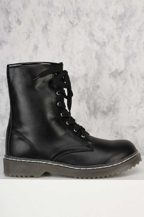 Black Front Lace Up Round Closed Toe Combat Boots