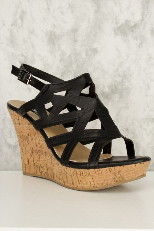 Black Geomtric Strappy Cut Out Open Toe Cork Platform Wedges Faux Leather