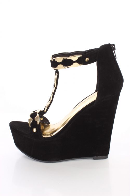 Black High Polish Accent T Strap Wedges Faux Suede