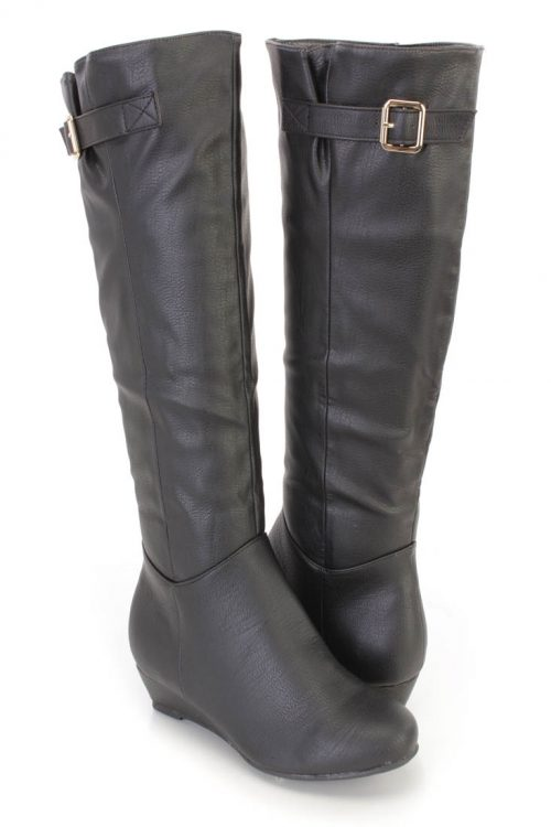 Black Knee High Mini Wedge Boots Faux Leather6