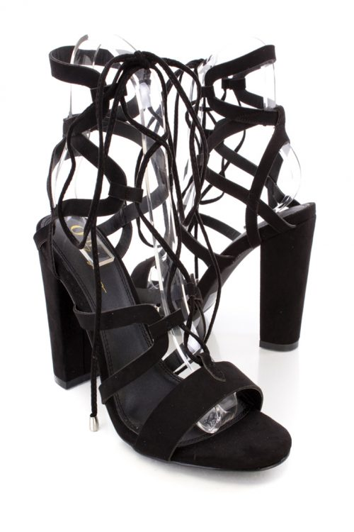 Black Lace Up Tie Strappy Side Detailing Chunky High Heels Faux Suede