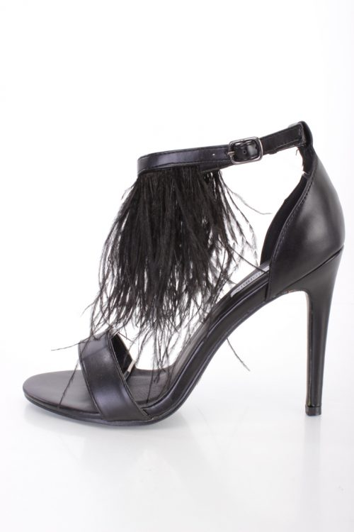 Black Marabou Feather Single Sole Heels Faux Leather