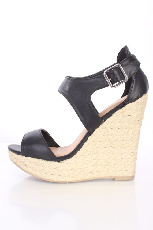 Black Peep Toe Espadrille Platform Wedges Faux Leather