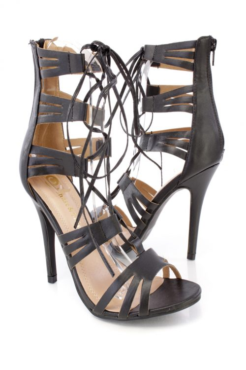 Black Peep Toe Lace Up Strappy High Heels Faux Leather