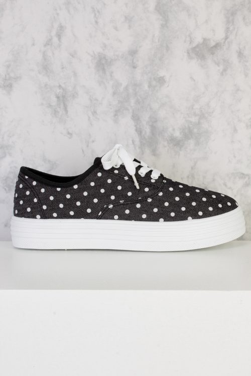 Black Polka Dot Print Round Closed Toe Lace Tie Shoes