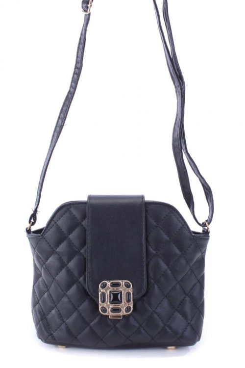Black Quilted Faux Leather Mini Handbag
