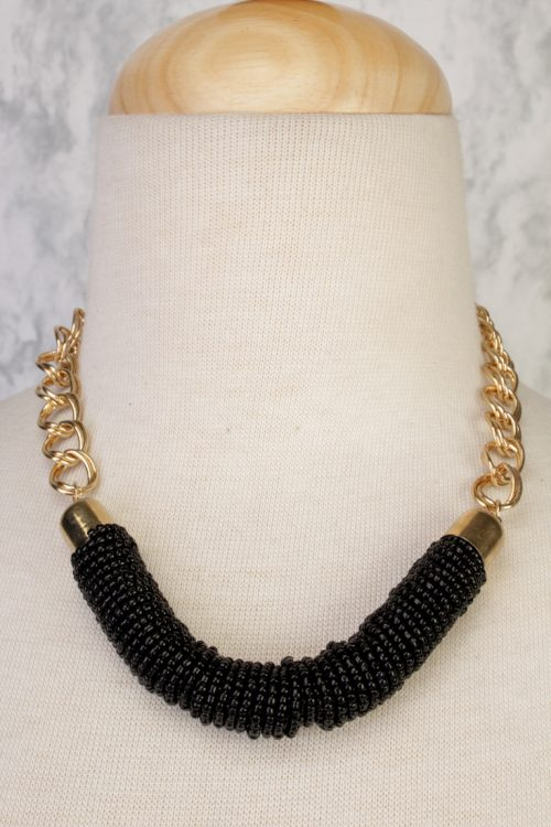Black Rice Bead High Polish Metal Chain Necklace