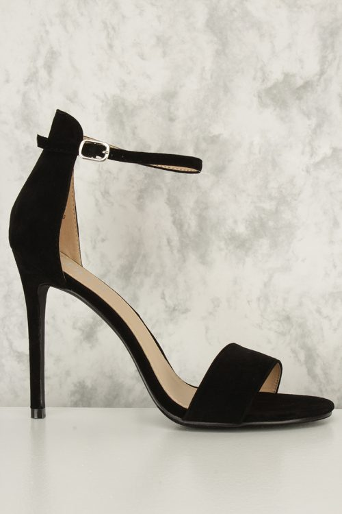 Black Single Buckle Ankle Strap Open Toe Single Sole High Heel Faux Suede
