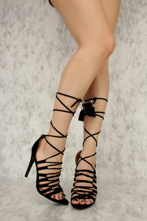 Black Strappy Ankle Lace Up Tassel Detailing Open Toe High Heels Faux Suede