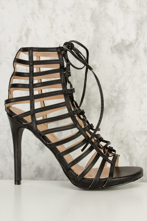 Black Strappy Cut Out Lace Up Open Toe High Heel Faux Leather