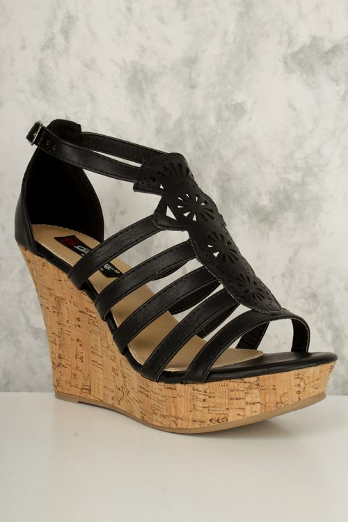 Black Strappy Detailed Cut Out Open Toe Cork Platform Wedges Faux Leather