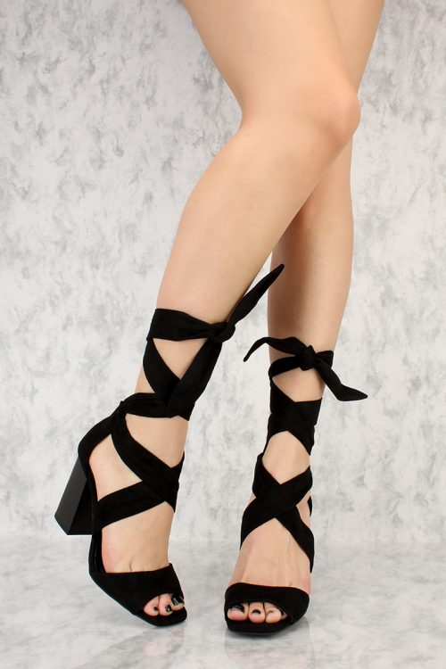 Black Thick Wrap Around Criss Cross Straps Open Toe Chunky Heel Suede