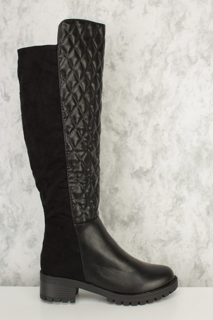 Black Two Tone Quilted Shaft Knee High Razor Riding Boots Faux Leather