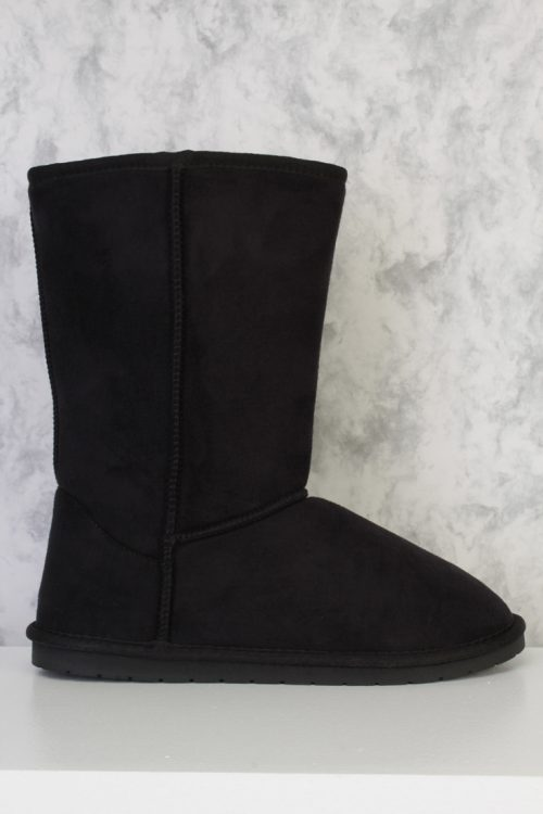 Black Upper Stitched Comfy Mid Calf Boots Faux Suede