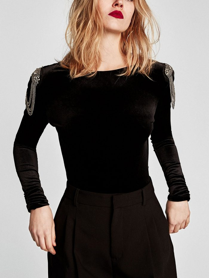 Black Velvet Beaded Embellished Long Sleeve Bodysuit