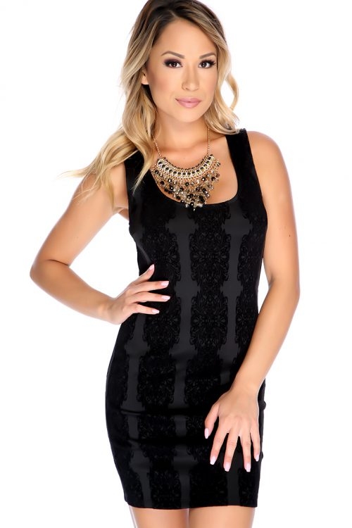 Black Velvet Pattern Sleeveless Dress