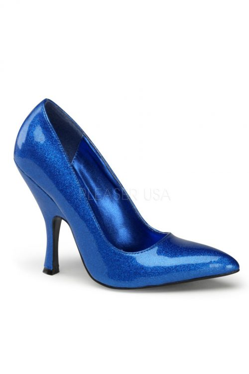 Blue Pearlized Glitter Single Sole Pump Heels Patent