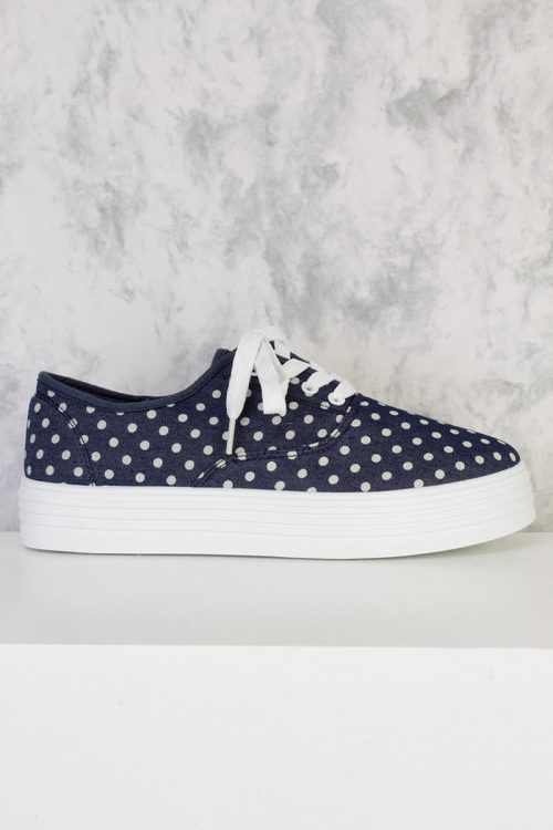 Blue Polka Dot Print Round Closed Toe Lace Tie Shoes