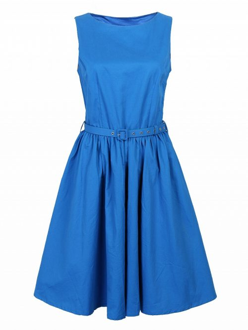 Blue Vintage Sleeveless Midi Dress
