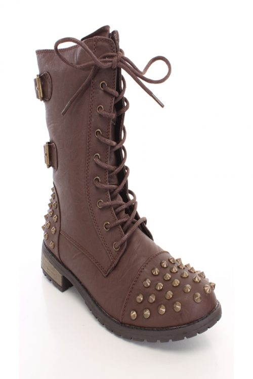 Brown Spike Studded Combat Boots Faux Leather-5.5