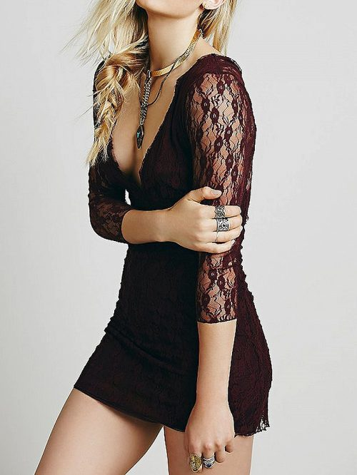 Burgundy Plunge V-back 3/4 Sleeve Bodycon Lace Mini Dress